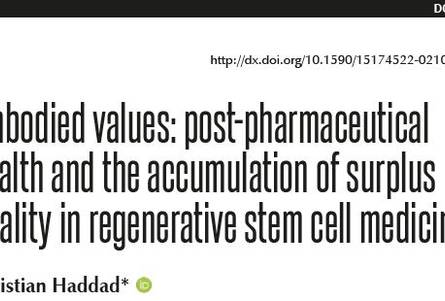 Embodied values: post-pharmaceutical health and the accumulation of surplus vitality in regenerative stem cell medicine