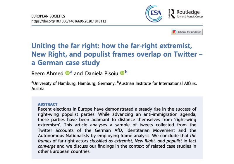 Uniting the far right: how the far-right extremist, New Right, and populist frames overlap on Twitter – a German case study