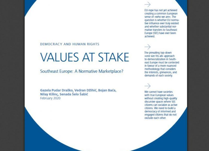 Democracy and Human Rights VALUES AT STAKE Southeast Europe: A Normative Marktplace?
